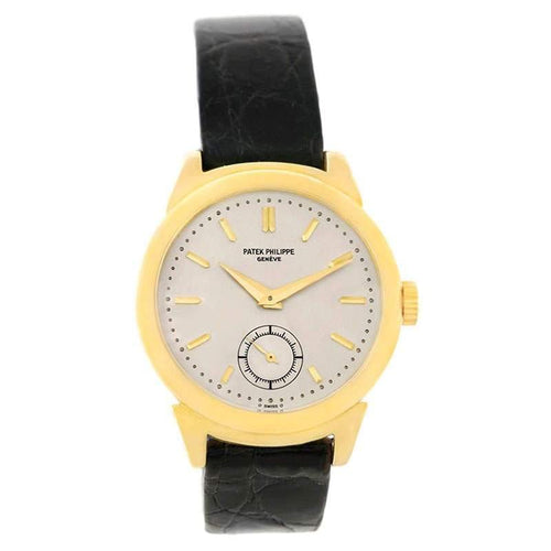Ladies Patek Philippe Silver 18K Yellow Gold Calatrava Vintage Wristwatch 34MM PRE-OWNED - Global Timez