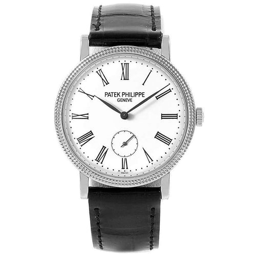 Ladies Patek Philippe Off-White 18K White Gold Calatrava Wristwatch 31MM PRE-OWNED - Global Timez