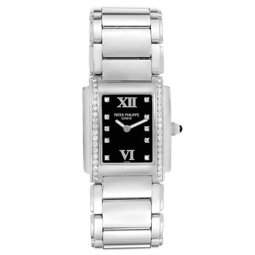 Ladies Patek Philippe Black Diamonds And Stainless Steel Twenty-4 4910 Wristwatch 25x30 MM PRE-OWNED - Global Timez