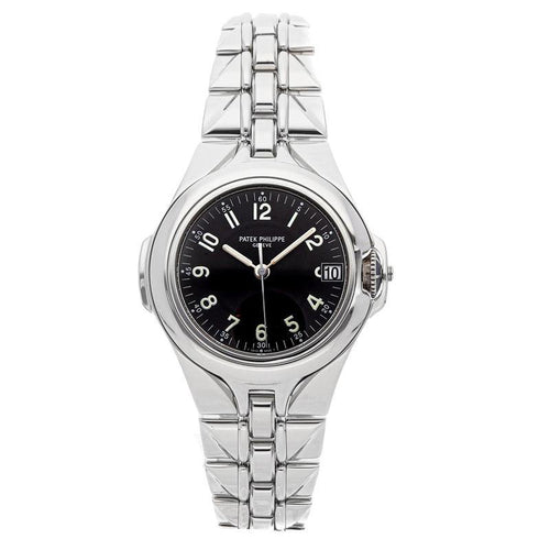 Ladies Patek Philippe Black Stainless Steel Sculpture 5091/1A Wristwatch 37.5 MM PRE-OWNED - Global Timez