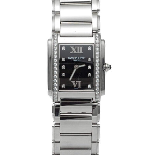 Ladies Patek Philippe White Dial Twenty-4 4910/1A Stainless Steel Diamond Watch 30MM PRE-OWNED - Global Timez