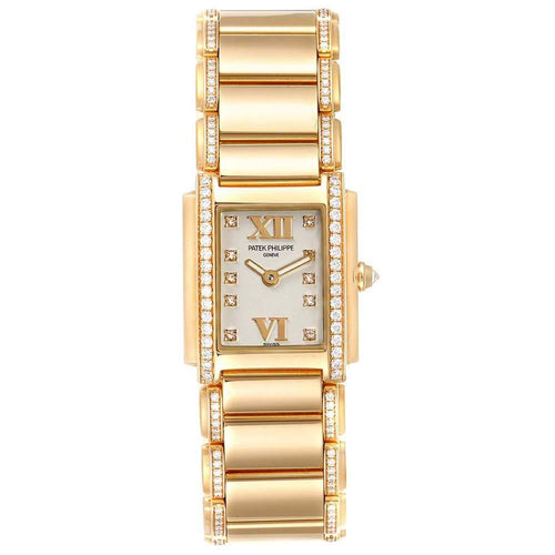 Ladies Patek Philippe Silver Diamonds Pave 18K Rose Gold Twenty-4 4908 Wristwatch 22x26 MM PRE-OWNED - Global Timez
