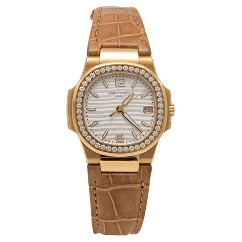 Ladies Patek Philippe Silver Dial Nautilus 7010R-011 Rose Gold Diamond Bezel Watch 32MM PRE-OWNED - Global Timez