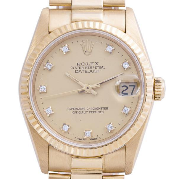 Rolex Gold 18K Yellow Gold DateJust Ladies Wristwatch 31MM PRE-OWNED