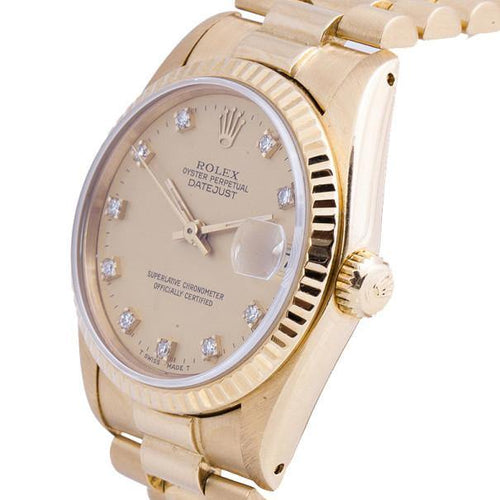 Rolex Gold 18K Yellow Gold DateJust Ladies Wristwatch 31MM PRE-OWNED - Global Timez