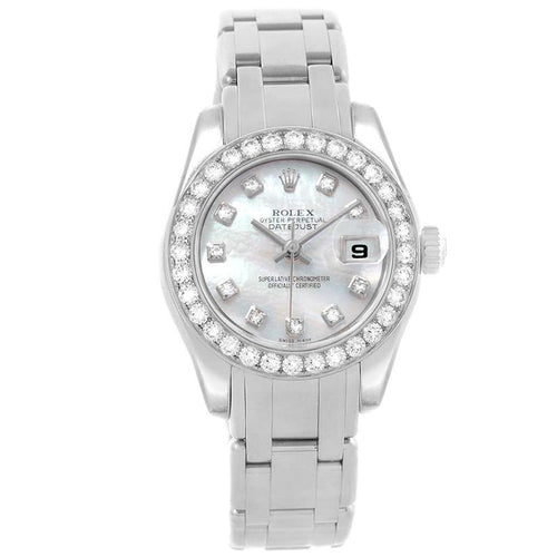 Ladies Rolex MOP 18K White Gold Diamond Pearlmaster Wristwatch 29MM PRE-OWNED - Global Timez