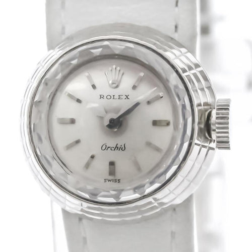 Ladies Rolex Silver 18K White Gold Orchid Women's Wristwatch 17 MM PRE-OWNED - Global Timez