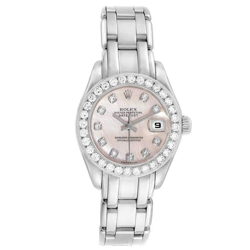 Ladies Rolex Rose MOP Diamonds And 18K White Gold Pearlmaster 80299 Wristwatch 29 MM PRE-OWNED - Global Timez