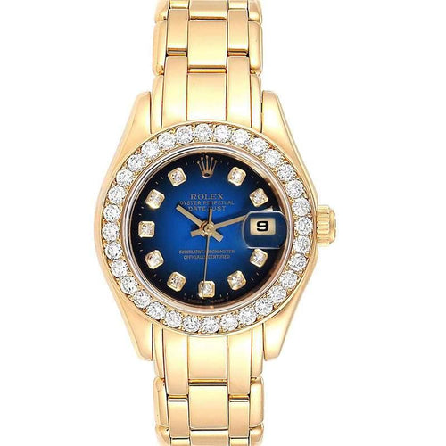 Ladies Rolex Blue Diamonds And 18K Yellow Gold Pearlmaster 69298 Wristwatch 29 MM PRE-OWNED - Global Timez