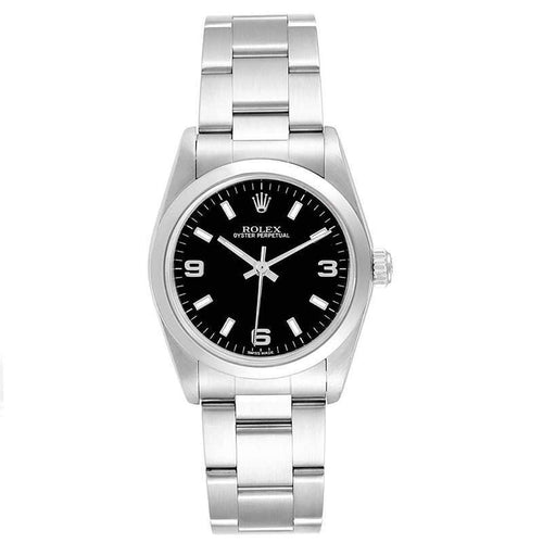 Ladies Rolex Rolex Black and Stainless Steel Oyster 77080 Wristwatch 31MM PRE-OWNED - Global Timez
