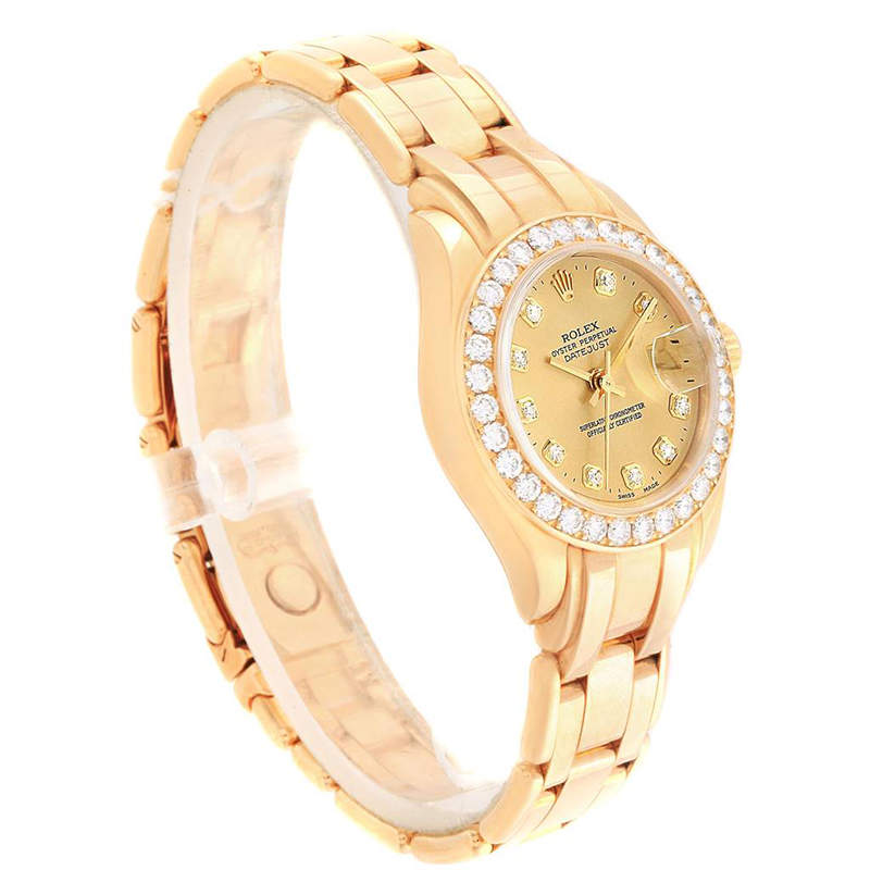 Ladies Rolex Champagne 18K Yellow Gold and Diamond Pearlmaster 69298 Wristwatch 29MM PRE-OWNED