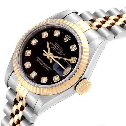 Ladies Rolex Black Diamonds 18K Yellow Gold Stainless Steel Oyester Perpetual 69173 Wristwatch 26 MM PRE-OWNED - Global Timez