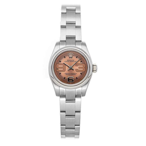 Ladies Rolex Pink Stainless Steel Oyster Perpetual 176200 Wristwatch 26 MM PRE-OWNED - Global Timez
