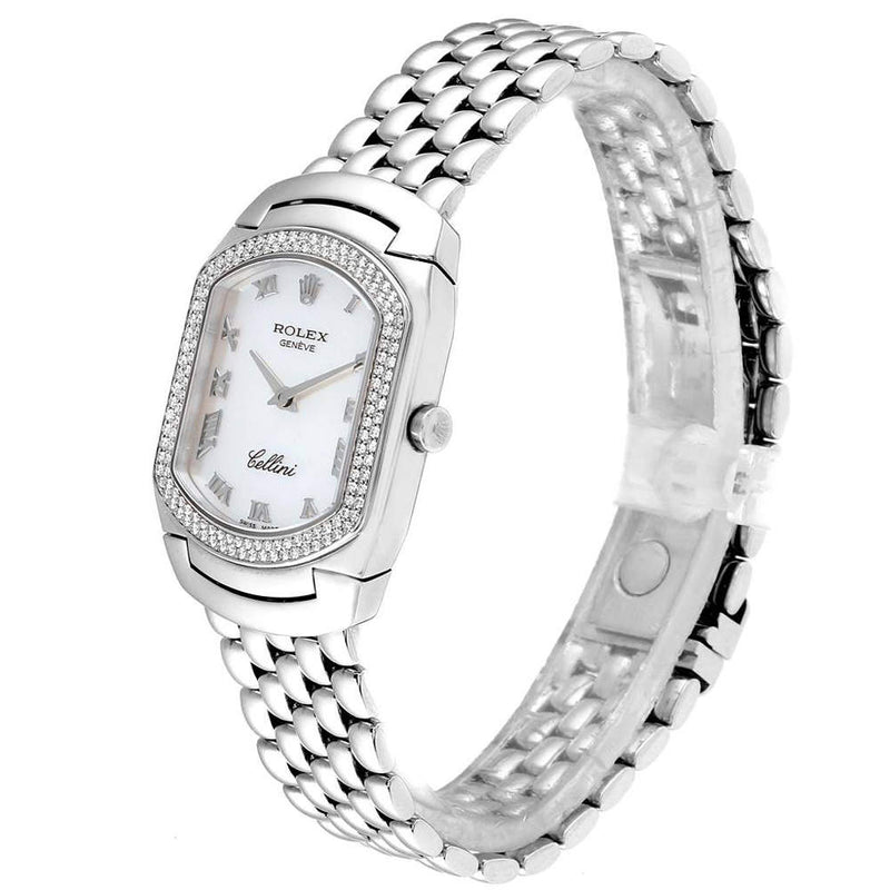 Ladies Rolex MOP Diamonds 18K White Gold Cellini Cellissima 6691 Wristwatch 24x35 MM PRE-OWNED