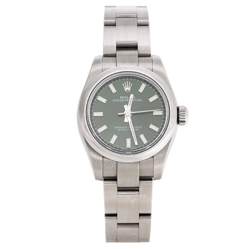Ladies Rolex Olive Green Stainless Steel Oyster Perpetual 176200OVSO Wristwatch 26 mm PRE-OWNED - Global Timez