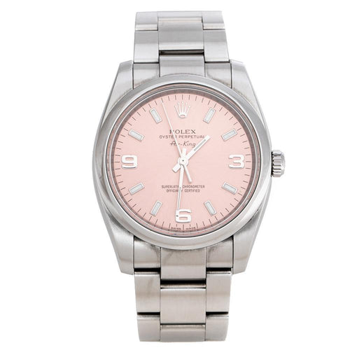 Ladies Rolex Pink Stainless Steel Oyster Perpetual Air-King 114200 Wristwatch 34 mm PRE-OWNED - Global Timez