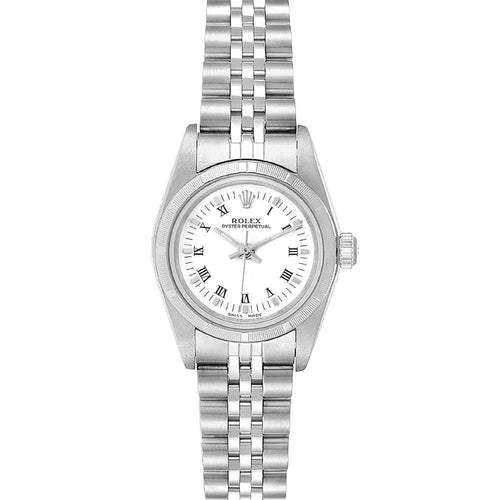 Ladies Rolex White Stainless Steel Oyster Perpetual 76030 Wristwatch 24MM PRE-OWNED - Global Timez