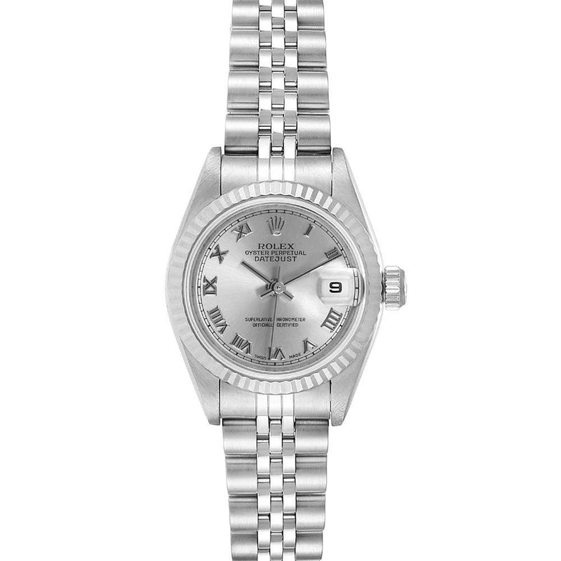 Ladies Rolex Silver 18K White Gold And Stainless Steel Datejust 79174 Wristwatch 26 MM PRE-OWNED