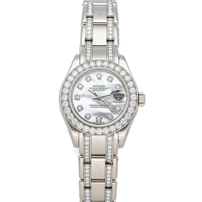 Ladies Rolex MOP Diamonds 18K White Gold Pearlmaster Datejust 80299 Wristwatch 29 MM PRE-OWNED