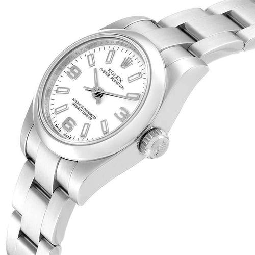 Ladies Rolex White Stainless Steel Oyster Perpetual 176200 Wristwatch 24 MM PRE-OWNED - Global Timez