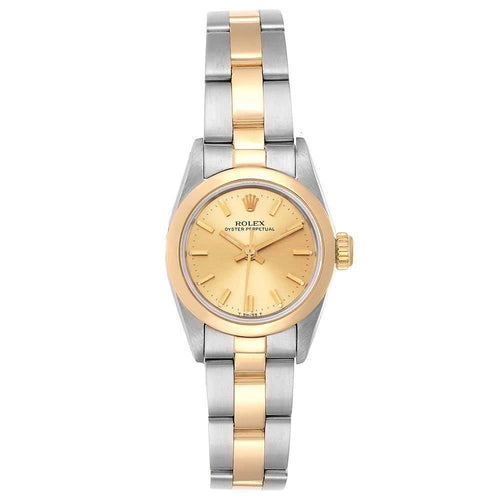 Ladies Rolex Champagne 18K Yellow Gold And Stainless Steel Oyster Perpetual Non-Date 67183 Wristwatch 24 MM PRE-OWNED - Global Timez