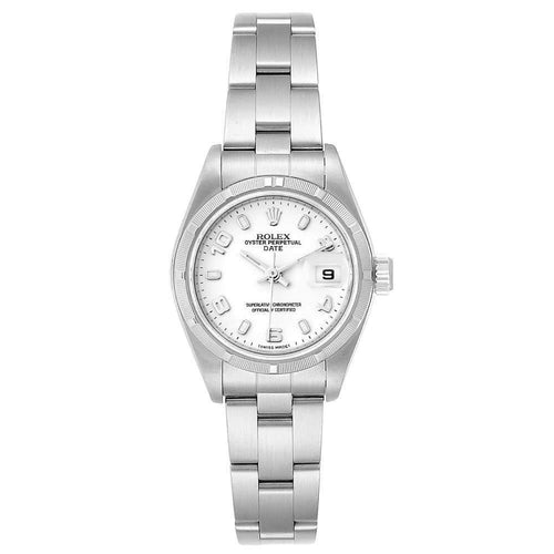 Ladies Rolex White Stainless Steel Oyster Perpetual Date 79190 Wristwatch 25 MM PRE-OWNED - Global Timez