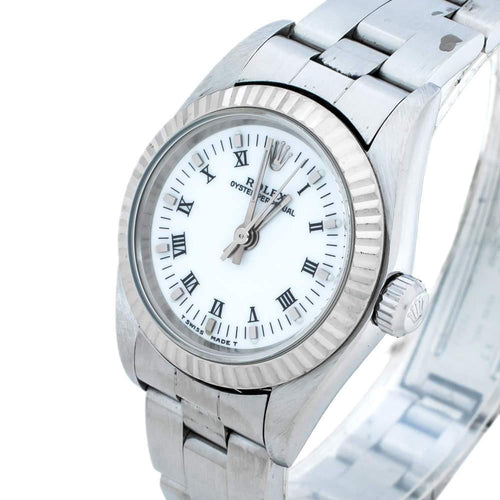 Ladies Rolex White 18K White Gold Stainless Steel Oyster Perpetual 76094 Wristwatch 24 mm PRE-OWNED - Global Timez