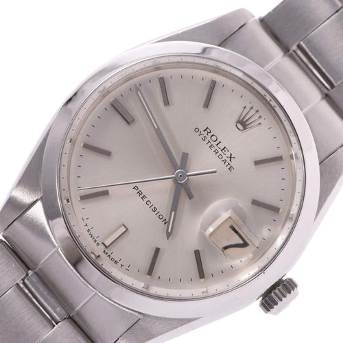 Ladies Rolex Silver Stainless Steel Oyster Date Precision 6694 Wristwatch 34MM PRE-OWNED - Global Timez