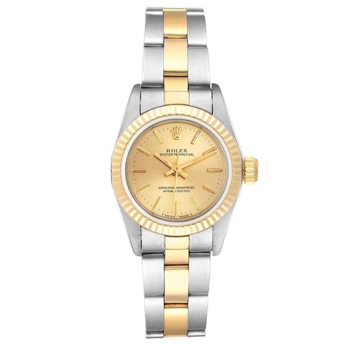 Ladies Rolex Champagne 18k Yellow Gold And Stainless Steel Oyster Perpetual 67193 Wristwatch 24 MM PRE-OWNED - Global Timez