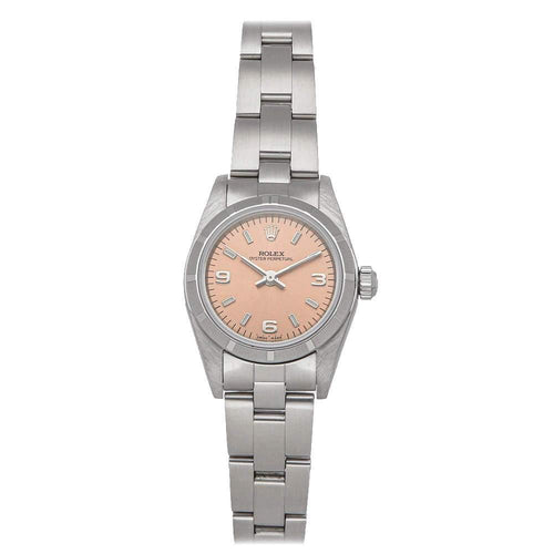 Ladies Rolex Pink Stainless Steel Oyster Perpetual 76030 Wristwatch 26 MM PRE-OWNED - Global Timez