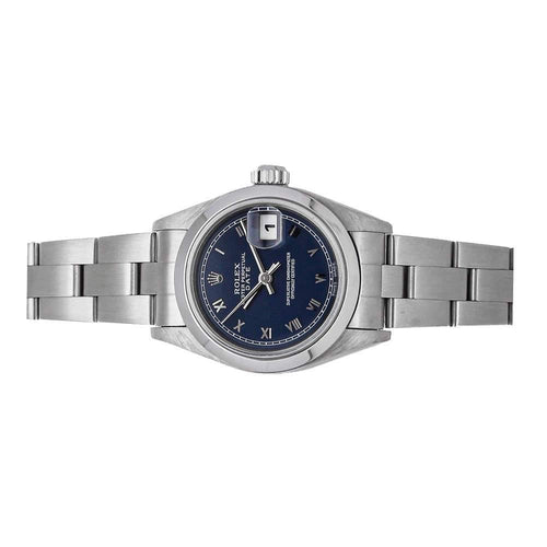 Ladies Rolex Blue Stainless Steel Oyster Perpetual Date 69160 Wristwatch 26 MM PRE-OWNED - Global Timez