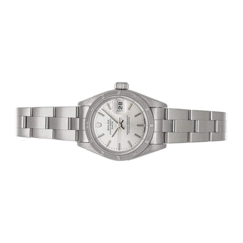 Ladies Rolex Silver Stainless Steel Oyster Perpetual Date 69190 Wristwatch 26 MM PRE-OWNED - Global Timez