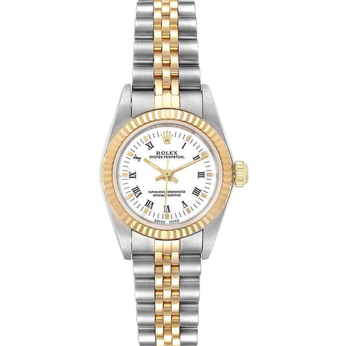 Ladies Rolex White 18K Yellow Gold And Stainless Steel Oyster Perpetual 76193 Wristwatch 24 MM PRE-OWNED - Global Timez
