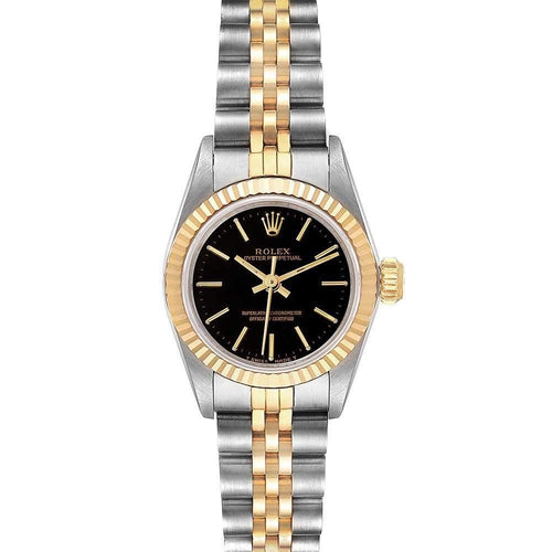 Ladies Rolex Black 18K Yellow Gold And Stainless Steel Oyster Perpetual 67193 Wristwatch 24 MM PRE-OWNED - Global Timez