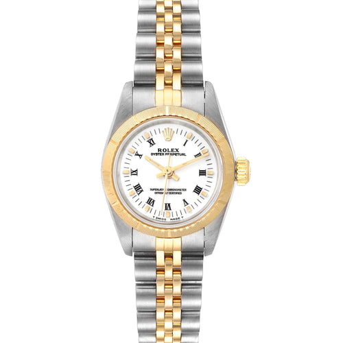 Ladies Rolex White 18K Yellow Gold And Stainless Steel Oyster Perpetual 67193 Wristwatch 24 MM PRE-OWNED - Global Timez