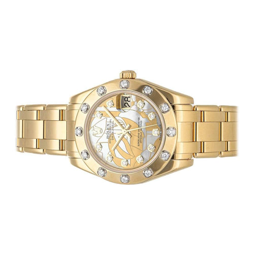 Ladies Rolex Yellow Goldust Dream Diamonds 18K Yellow Gold Pearlmaster 81318 Wristwatch 34 MM PRE-OWNED - Global Timez