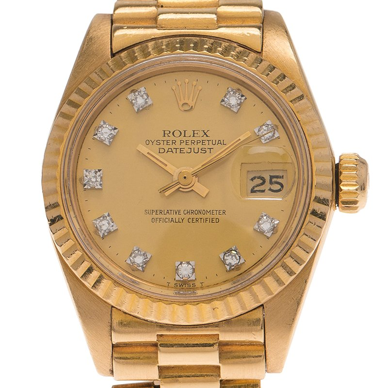 Ladies Rolex Champagne 18K Yellow Gold Datejust Wristwatch 26MM PRE-OWNED