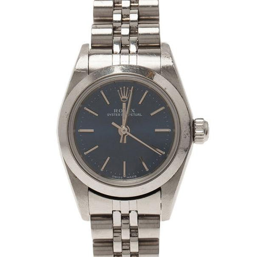 Ladies Rolex Blue Stainless Steel Oyster Perpetual Wristwatch 25MM PRE-OWNED - Global Timez