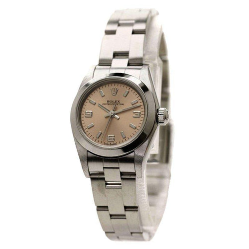Ladies Rolex Pink Stainless Steel Oyster Perpetual Wristwatch 24MM PRE-OWNED - Global Timez
