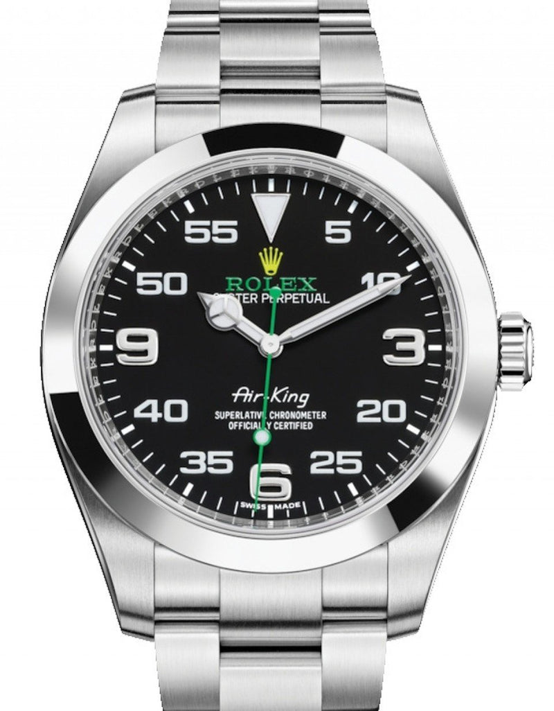 Men's Rolex Air-King Stainless Steel Black Arabic Dial 40mm Green Hand Oyster Bracelet 116900 - BRAND NEW