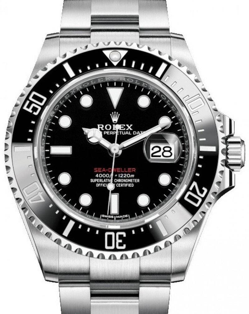Men's Rolex Sea-Dweller Stainless Steel Black Maxi Dial & Ceramic Bezel Oyster Bracelet 43mm 126600 - BRAND NEW