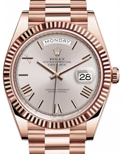 Men's Rolex Day-Date 40 Rose Gold Sundust Roman Dial & Fluted Bezel President Bracelet 228235 - BRAND NEW - Global Timez
