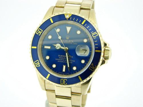 Men's Rolex 18K Yellow Gold Submariner Blue 16618 PRE-OWNED