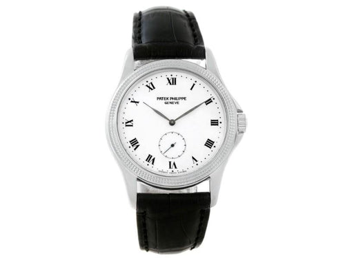 Men's Patek Philippe Calatrava 5115 18K White Gold & Leather Manual 35mm Mens Watch PRE-OWNED - Global Timez