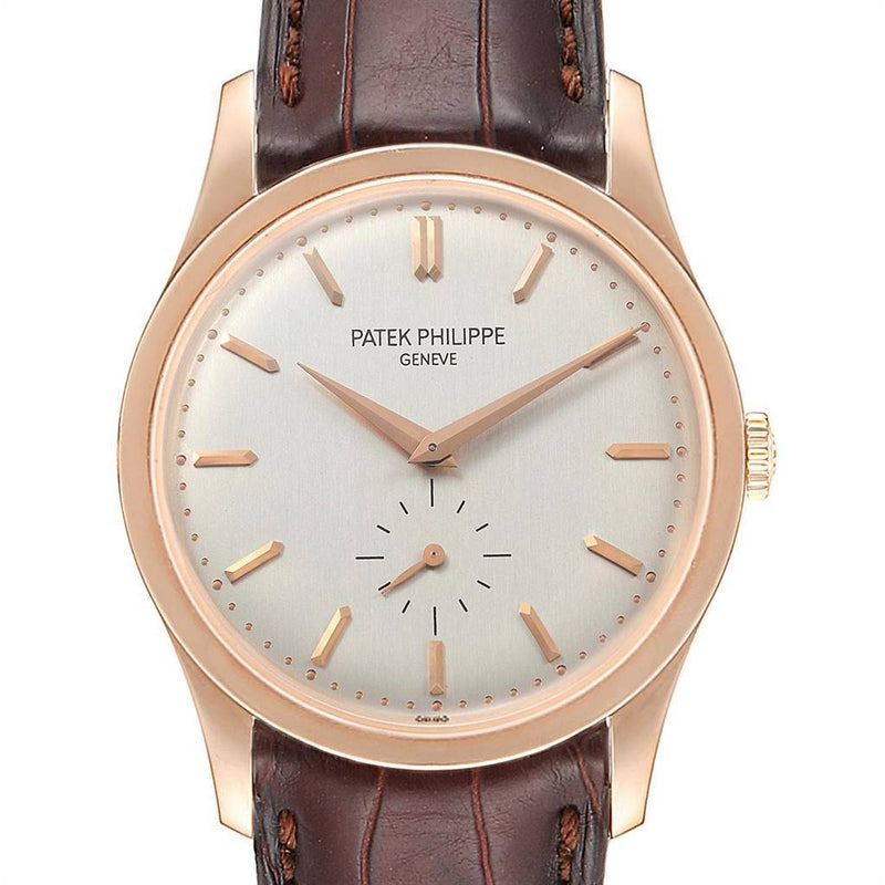 Patek Philippe Calatrava 37mm Silver Dial Rose Gold Mens Watch 5196 PRE-OWNED