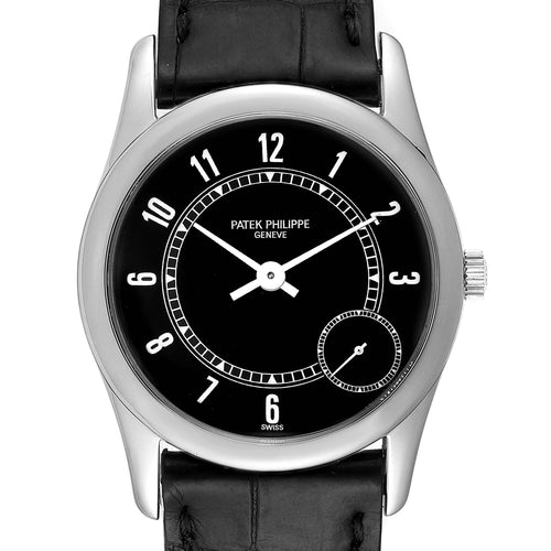Men's Patek Philippe Calatrava White Gold Black Dial Automatic Mens Watch 5000 PRE-OWNED - Global Timez