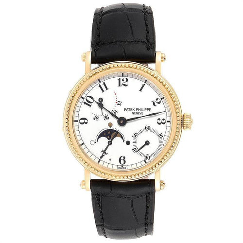Mens Patek Philippe Calatrava Yellow Gold Moon Phase Power Reserve Watch 5015 PRE-OWNED - Global Timez