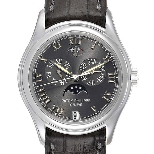 Mens Patek Philippe Complications Annual Calendar Moonphase Platinum Watch 5056 PRE-OWNED - Global Timez