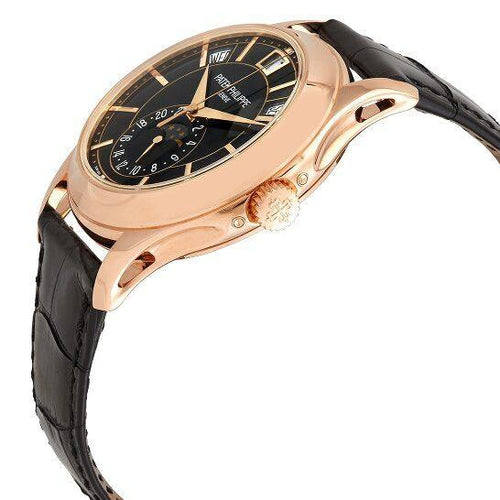 Men's Patek Philippe Complications Annual Calendar Moon Phase Black Dial Rose Gold Bezel Black Leather Strap 40mm 5206R-010 - BRAND NEW - Global Timez