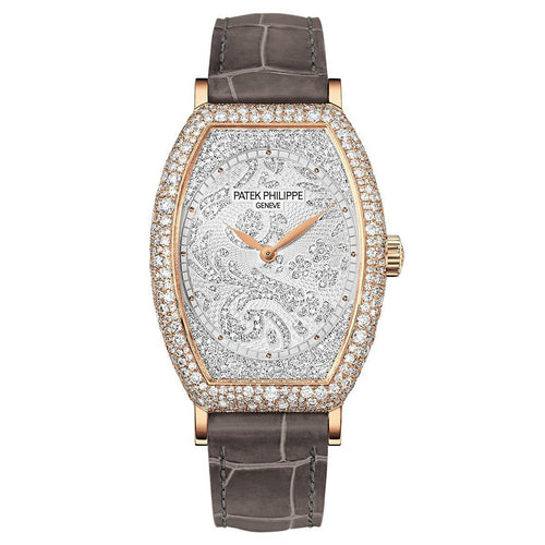 Patek Philippe 7099R-001 Gondolo Ladies 29.6 × 38.9mm Guilloched Diamond Pave Rose Gold Diamond Set Leather Manual - BRAND NEW - Global Timez